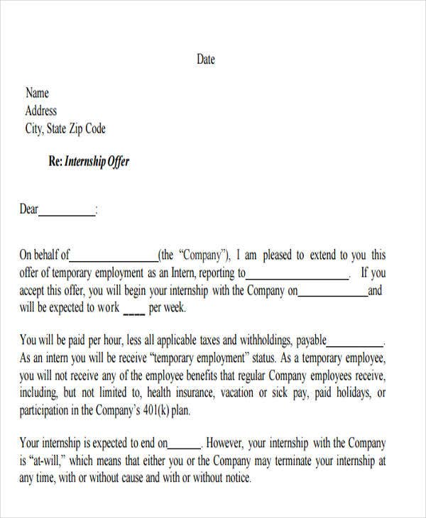 42 Sample Offer Letter Template