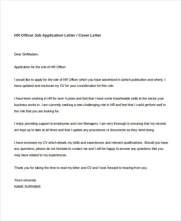 human resources cover letter