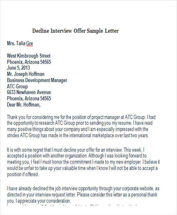 decline interview offer sample letter
