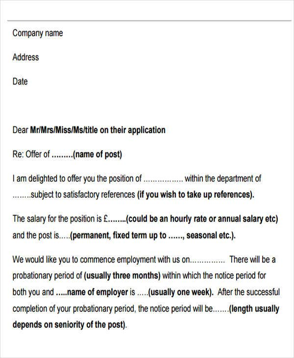 free sample job offer letter
