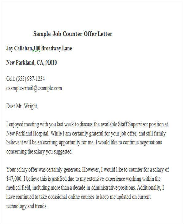 Salary Negotiation Letter Sample Counter Offer Letter  Free