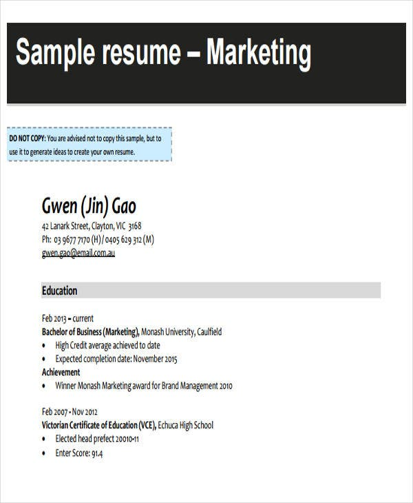 business marketing resume sample
