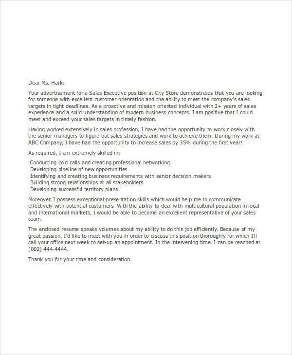 sales executive job application letter