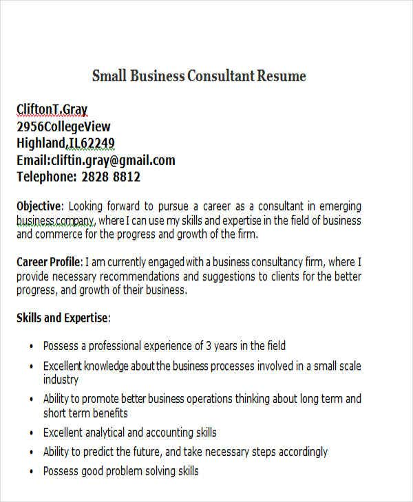 small business consultant resume arojcom - Business Consultant Resume Sample