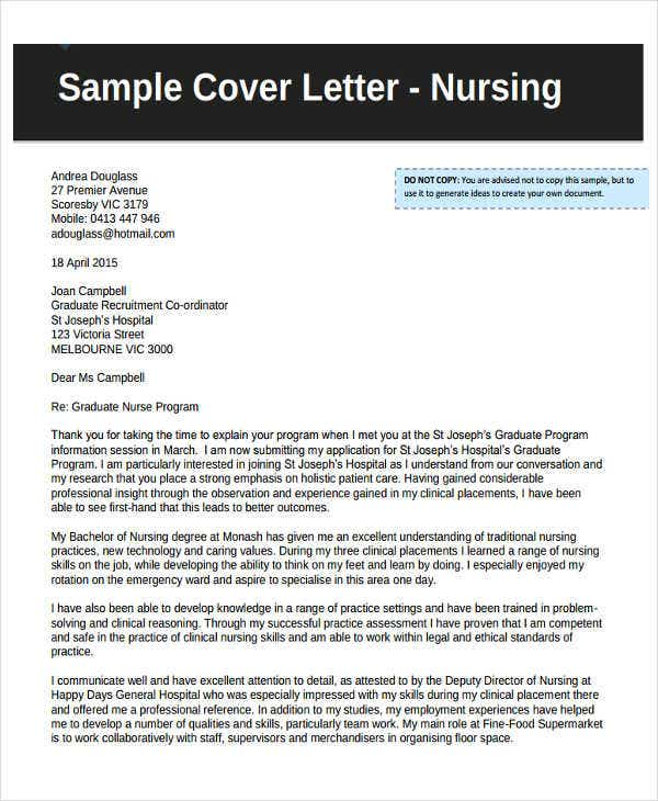 Job Application Letters For Nurse   Free Word Pdf Format