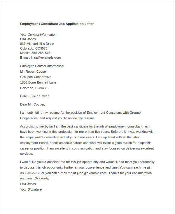 8 Job Application Letter Template For Employment