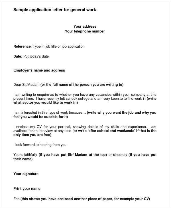 Job Application Letter Template For Employment   Free Word
