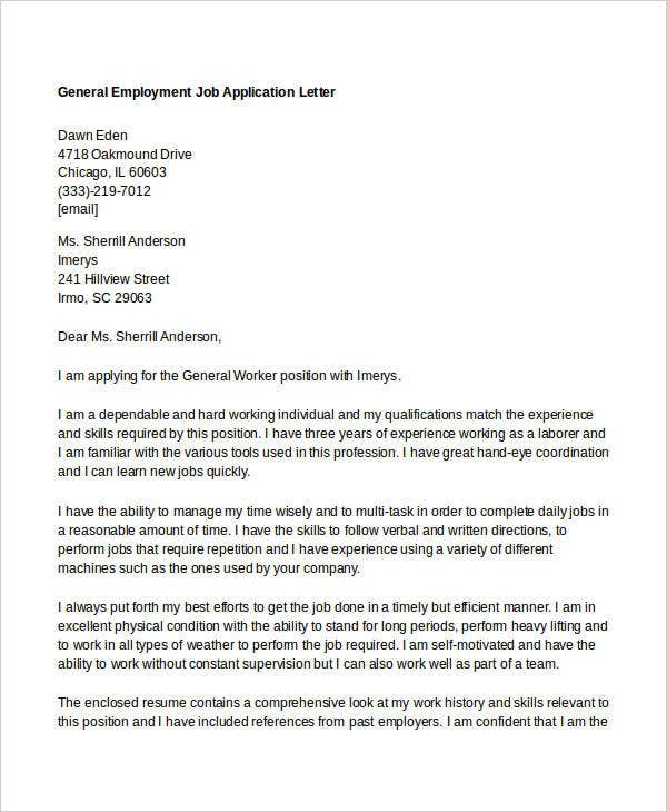 28 general application letter doc cover letter