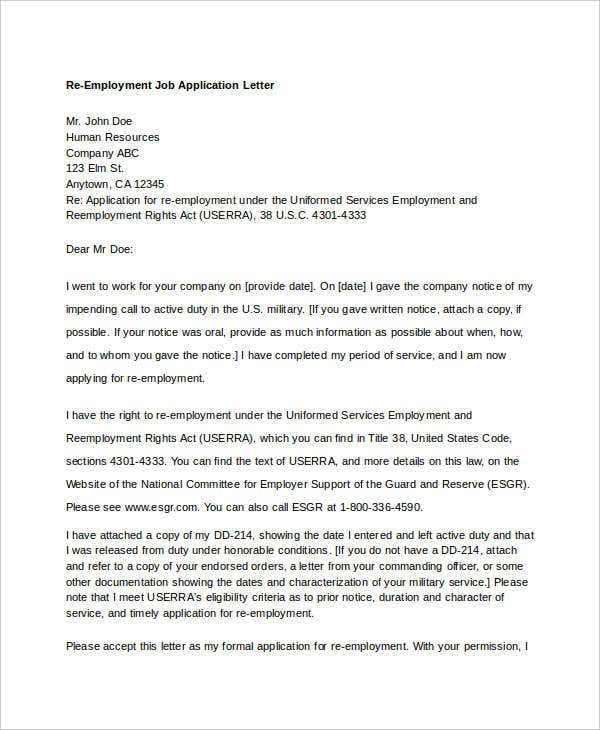 Re Employment Job Application Letter