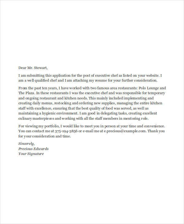 executive chef job application letter