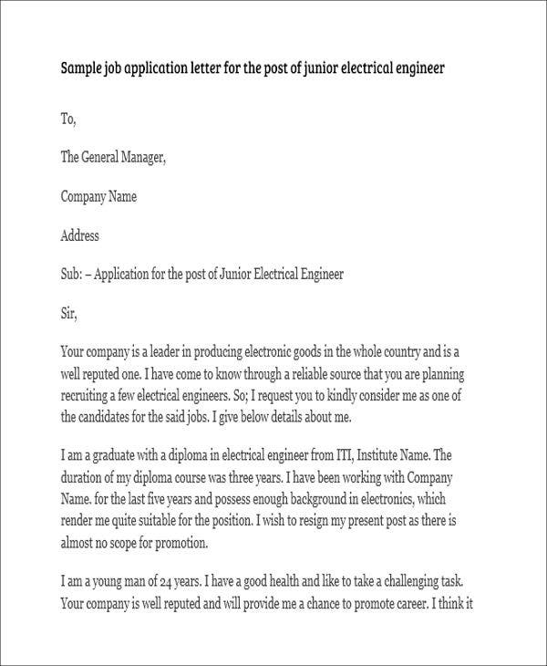 Job Application Letter For Engineer - 8+ Free Word, Pdf Format