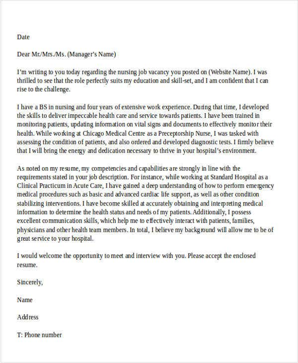 Job application letter nursing sample application letter for nursing aide without spiritdancerdesigns Images
