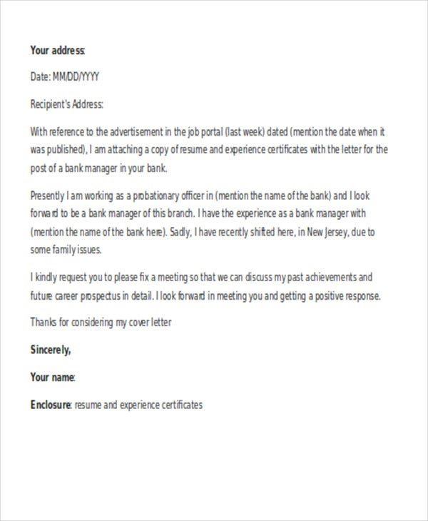 Exceptional Cover Letter For Manager Job