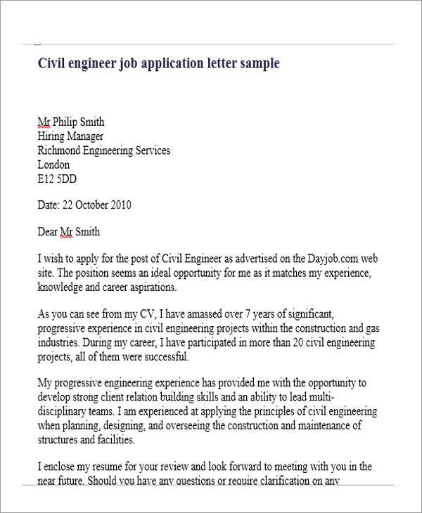 Job Application Letter For Engineer   Free Word Pdf Format