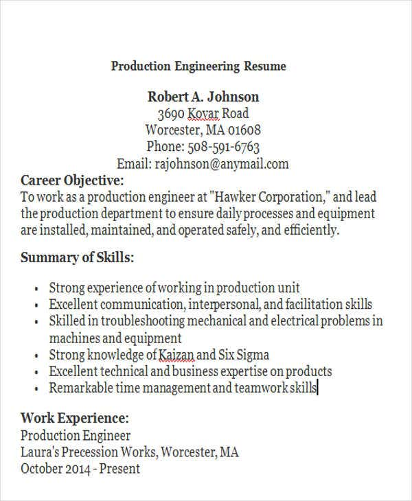 production engineering resume