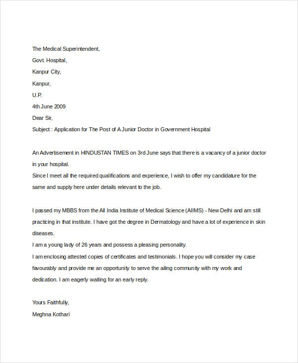 covering letter for doctor job application Job application letter templates job application letter in pdf if you're a recently minted doctor and are looking to gain experience before eventually opening.