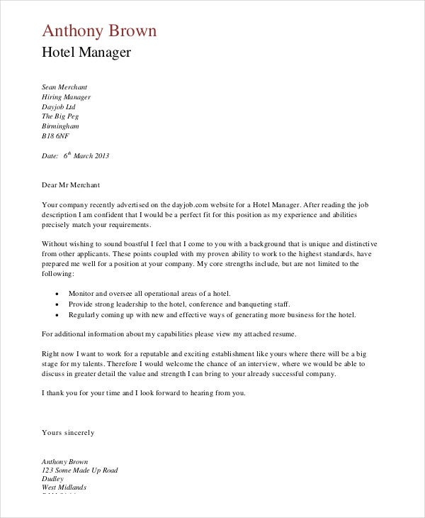 Hotel Manager Job Application Letter