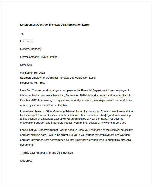 Job Application Letter Template For Employment