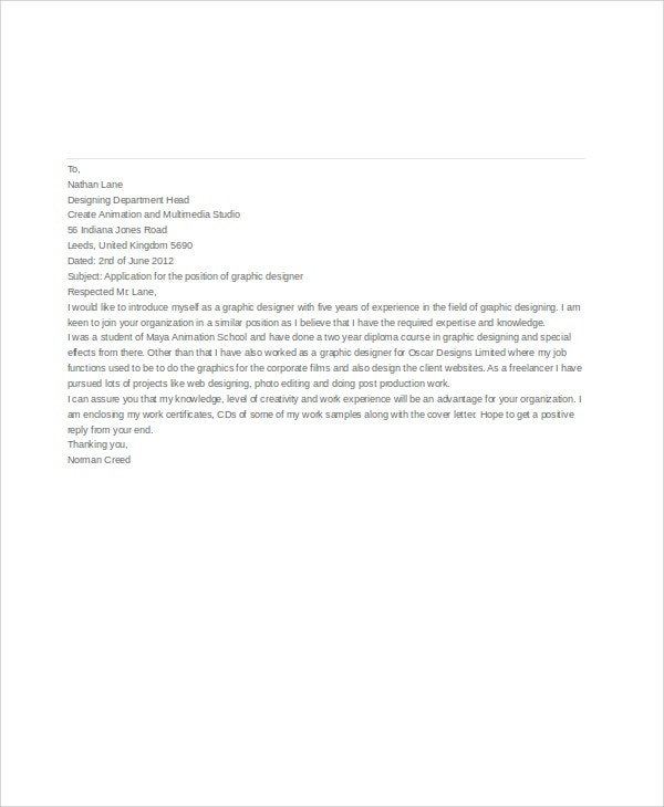 Job Application Letters For Graphic Designer  Free Word Pdf