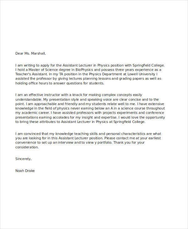 Application letter to professor