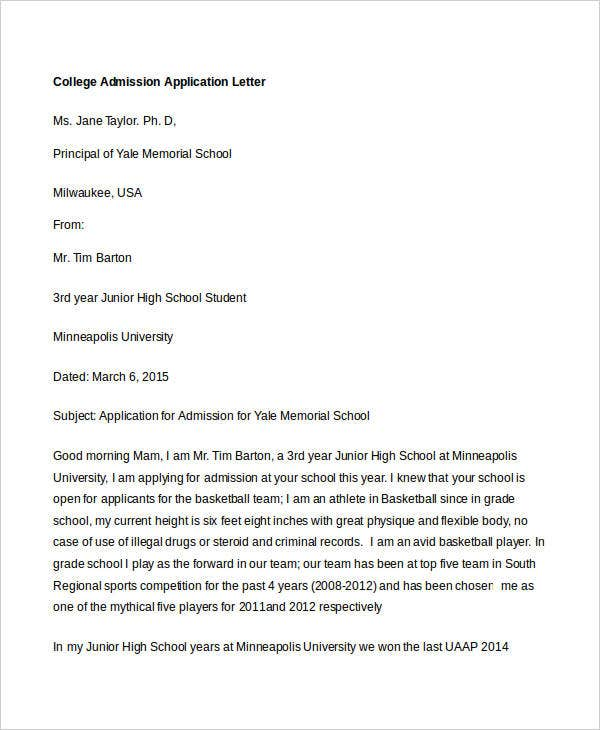 college application letter sample