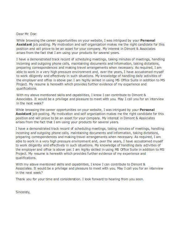 Personal Assistant Application Letter  BesikEightyCo