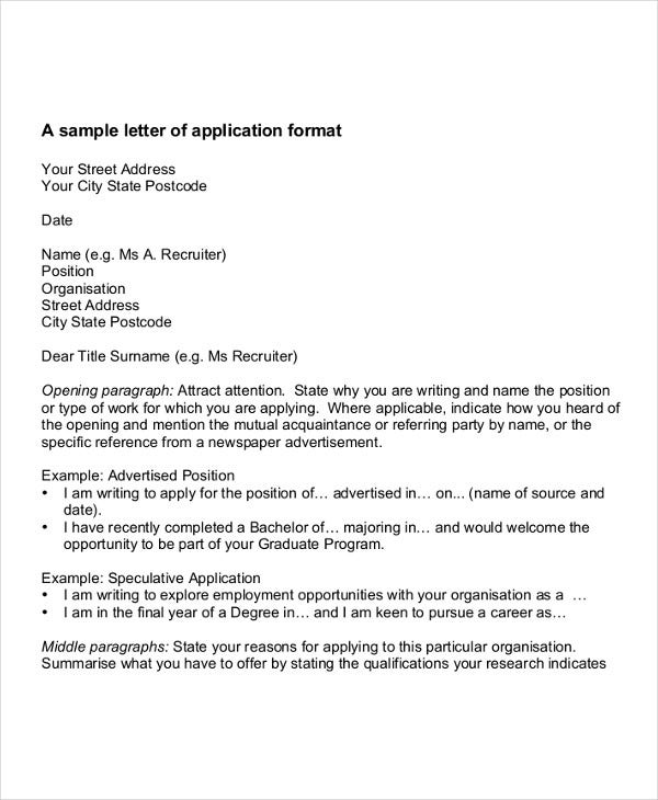 doctor job application letter format - Sample Resume Letters Job Application
