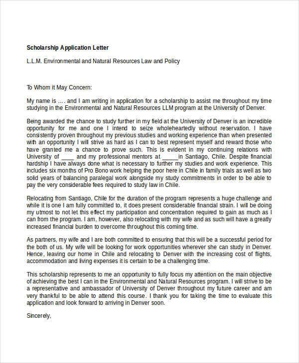application letter for scholarship in university Scholarship organization name scholarship organization mailing address scholarship organization city, state zip 1 blank space salutation: (if possible address it to the particular person by name) 1 blank space opening paragraph: state the field of study that you are going into, what scholarship you're applying for,.