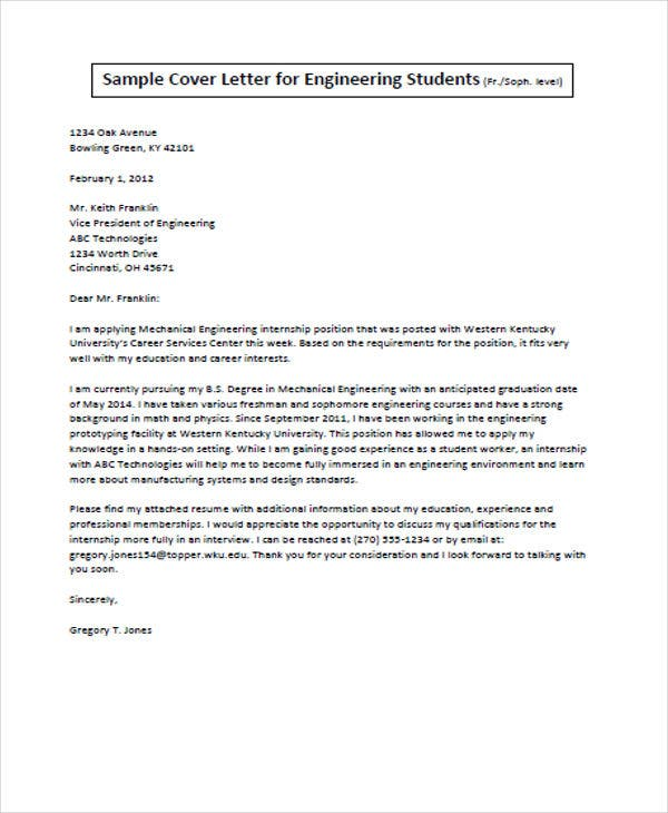 Engineer Student Job Application Letter