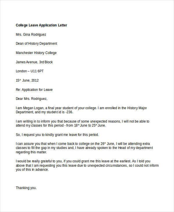 College application letter templates 9 free word pdf format college leave application letter foundletters altavistaventures Image collections