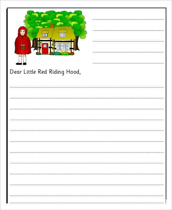 blank letter writing template for kids