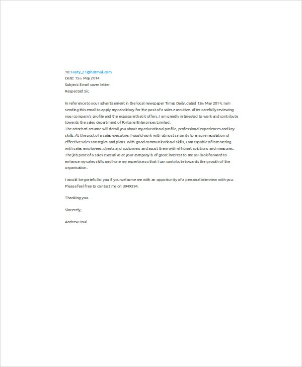 11+ Sample Email Application Letters