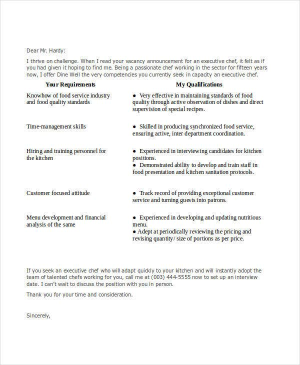 Job Application Letters For Chef   Free Word Pdf Format Download