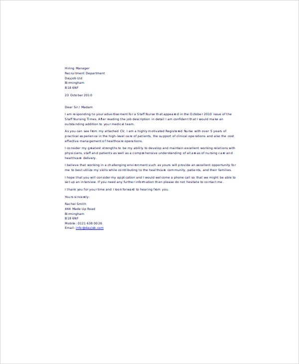 nurses email application letter