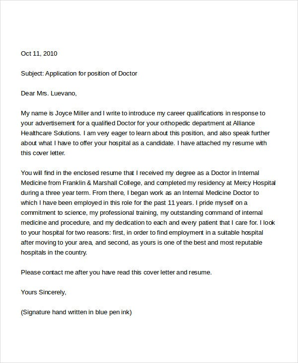 Free Doctor Job Application Letter