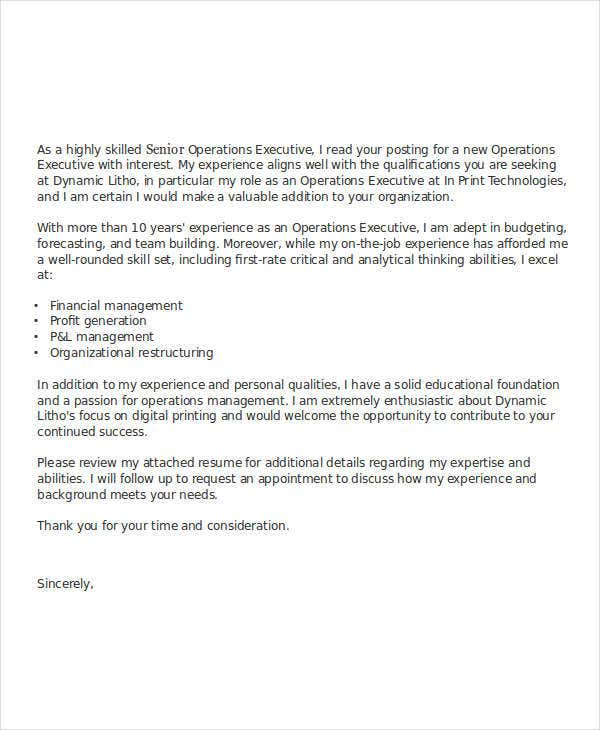 Job Application Letter Bank Executive