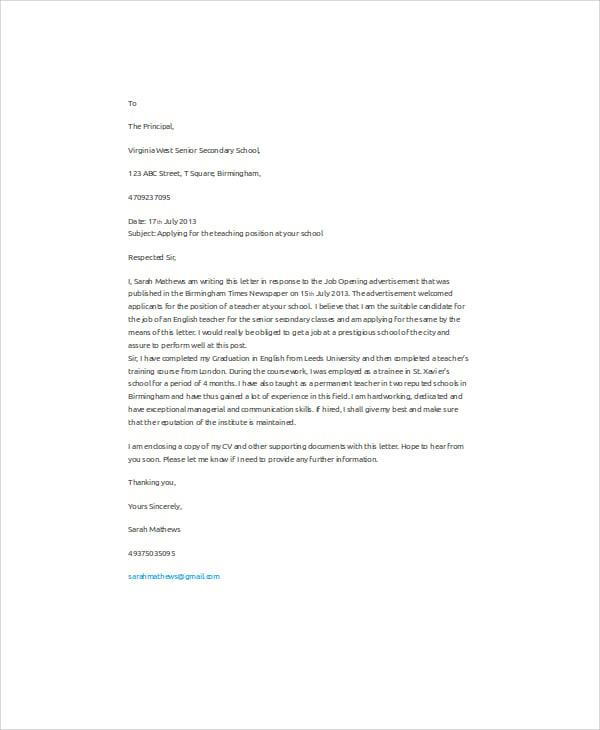 Job Application Letter Sample English Teacher Krys Tk
