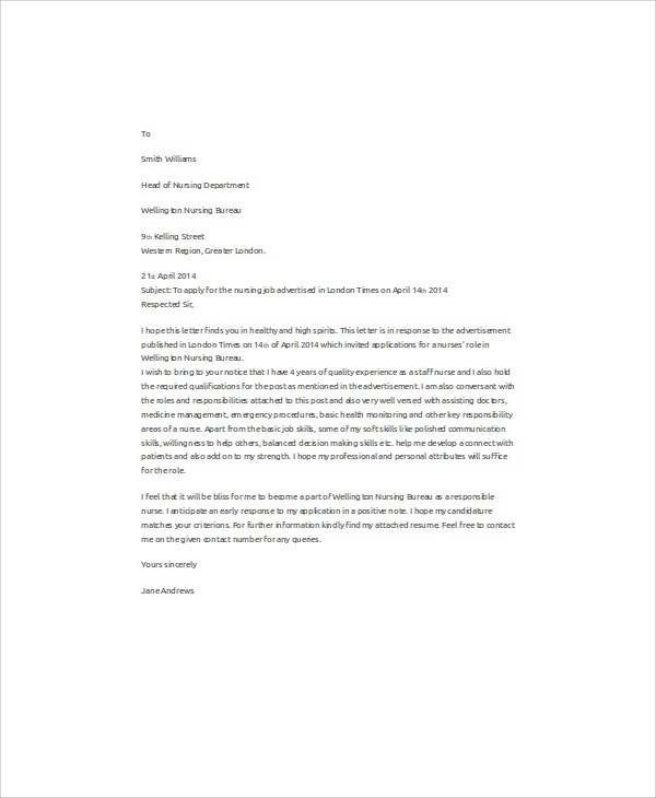 Nursing Job Application Letter  Cover Letter Examples For Nurses