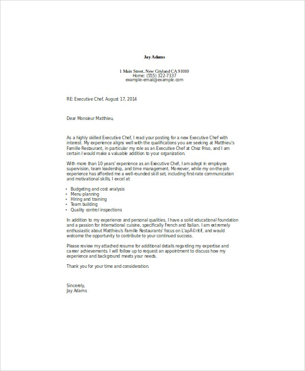 Lovely Executive Chef Cover Letter