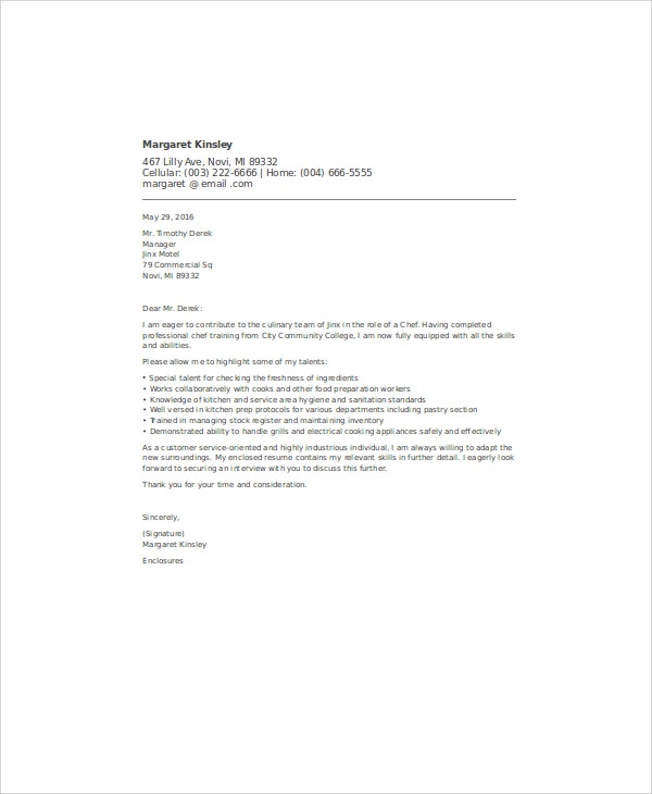 no experience chef job application letter