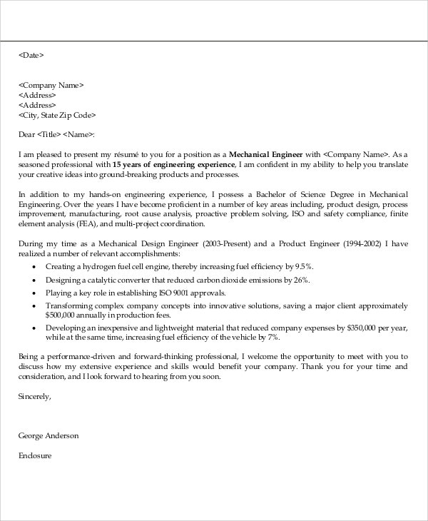 Mechanical Engineer Application Cover Letter