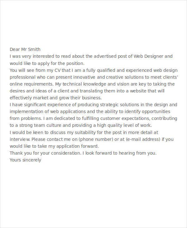 web designer job application letter sample