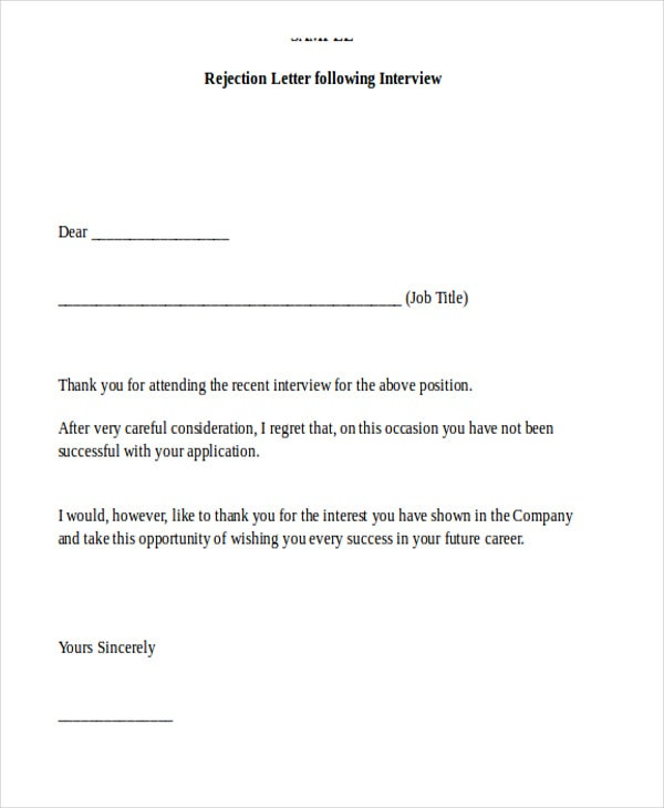 9+ Sample Job Applicant Rejection Letters | Free & Premium Templates
