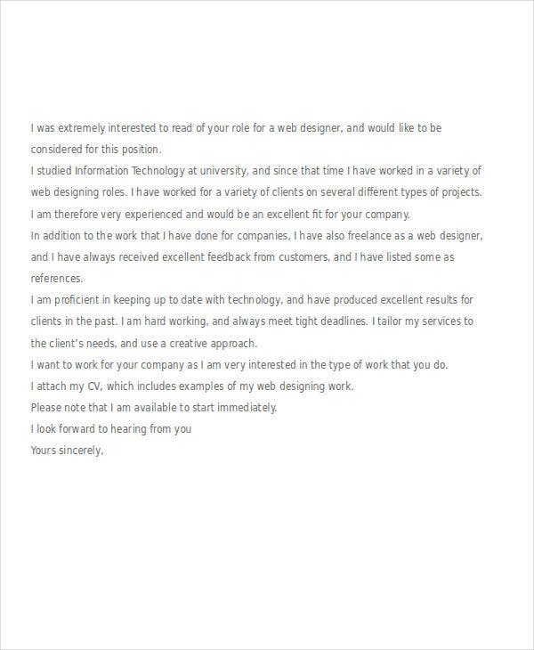 web designer job application letter example