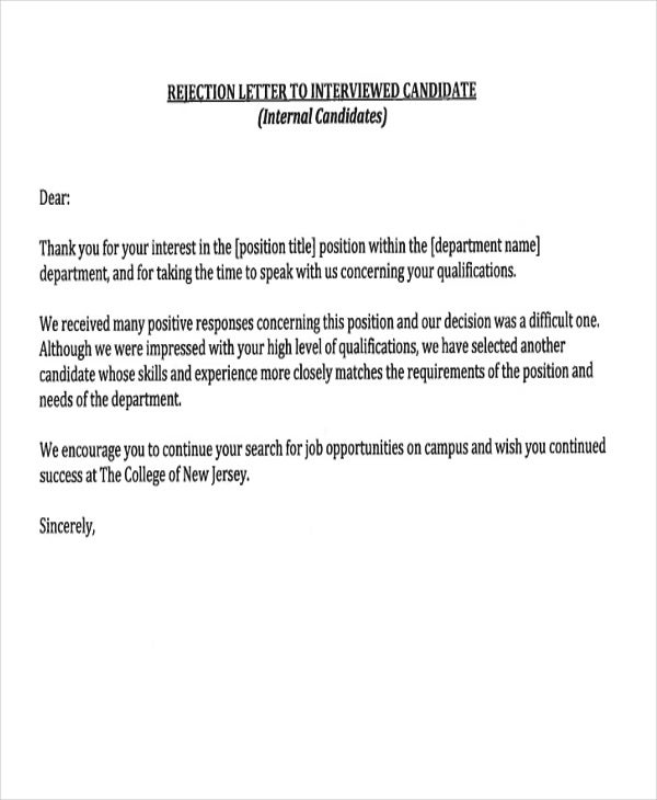 Job application regret letter sample 29 rejection letters template hr templates free spiritdancerdesigns Gallery