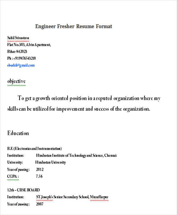 engineer fresher resume format