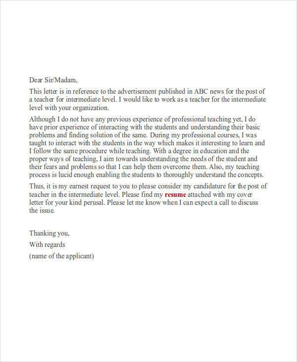Job Application Letter Examples  Free  Premium Templates