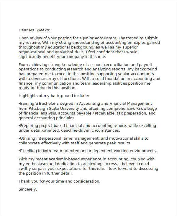 cover letter for junior accountant cv Create a powerful job application that hiring mangers can t ignore with our entry level accountant cover letter template and writing guide.
