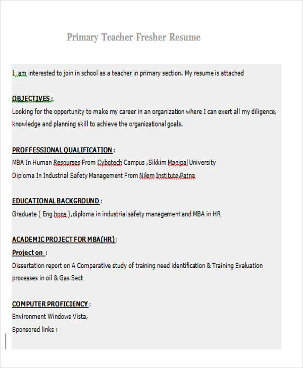 primary teacher fresher resume