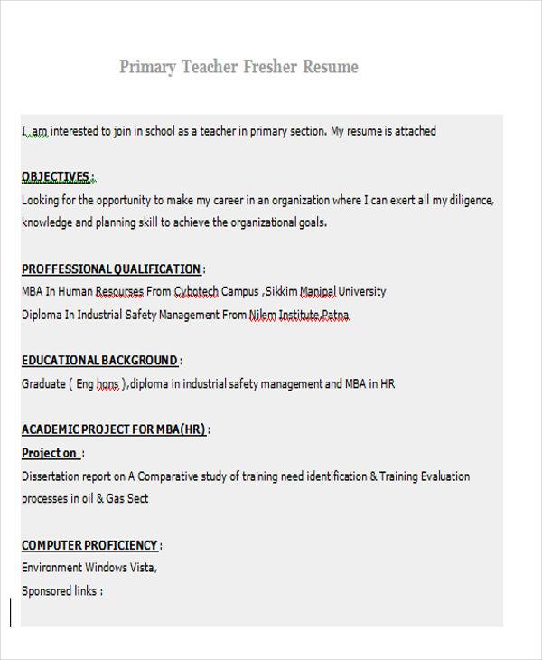 Primary-Teacher-Fresher-Resume Teacher Resume Format Download Doc on basic resume format download, job resume sample download, resume samples to download,